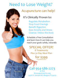 Acupuncture for Weight Loss in Margate and Coral Springs and Coconut Creek Florida